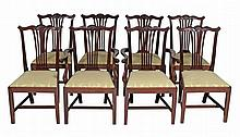 A set of 8 mahogany dining chairs in George III style , 19th century