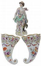 A pair of Dresden porcelain pierced wall pockets, circa 1900, 19