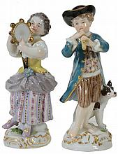 Two Meissen models of child musicians, early 20th century, 12cm & 13cm high