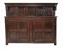 An oak court cupboard, 17th century and later