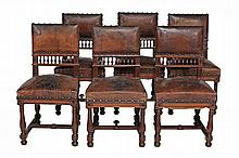A set of twelve French walnut dining chairs, circa 1900