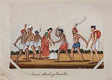 A set of twelve 19th Century Indian school gouache paintings on mica