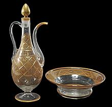 A Bohemian clear-glass and gilt pear-shaped slender ewer