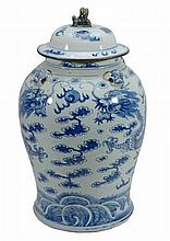 A Chinese blue and white porcelain baluster jar and cover