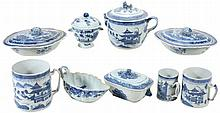 A collection of Chinese blue and white porcelain, late 18th and 19th centuries