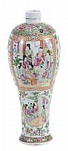 A Cantonese slender vase, 19th century, typically painted with panels of...
