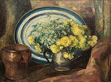 Herbert Davis Richter (1874-1955) - Still life with flowers in a vase, copper vessel and blue dish behind