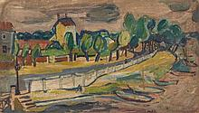 Anita de Caro (1909-1998) - Lakeside road, with boats in the foreground, and houses and trees beyond