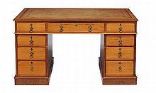 A Victorian satinwood and hardwood twin pedestal desk , circa 1880