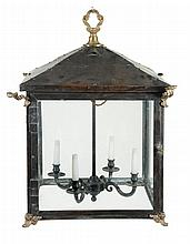 A large copper, gilt metal mounted and glazed lantern, 20th century