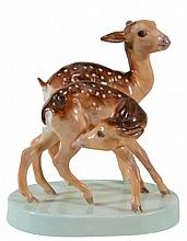 A Royal Worcester animal group; 'Young Spotted Deer'