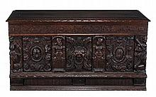 A carved oak coffer in 17th century style, late 19th century