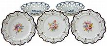 Three Royal Worcester dessert plates signed by E