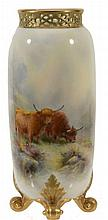 A Royal Worcester slender ovoid vase signed by H Stinton , date code for 1919