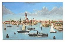 Dutch School (19th Century) - A view of a port