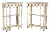 A pair of painted console tables , mid 19th century