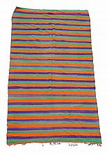 A Moroccon carpet of striped design in orange and purple approximately 184 x...