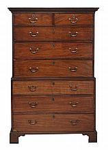 A George III mahogany chest on chest , circa 1770