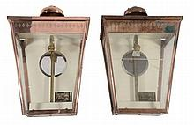 A pair of copper and glazed wall lanterns, second half 20th century