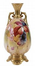 A Royal Worcester quatrefoil section two-handled ovoid vase signed by K