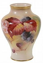 A small Royal Worcester baluster vase signed by K