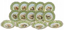 An Aynsley green-ground ornithological part dessert service signed by F