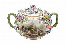 A Minton porcelain flower-encrusted two-handled pot pourri bowl and cover