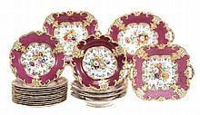 An English porcelain claret-ground part dessert service, possibly H. & R