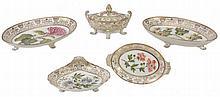 An English porcelain botanical part dessert service, circa 1810