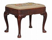 A George II red walnut stool , circa 1735
