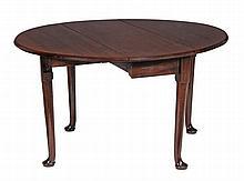 A George II red walnut dropleaf dining table , circa 1750