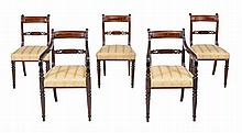 A set of ten George IV mahogany dining chairs , circa 1825
