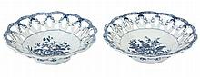 A pair of Worcester blue and white pierced round baskets, circa 1785