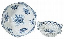 A Worcester blue and white pierced two-handled basket, circa 1785