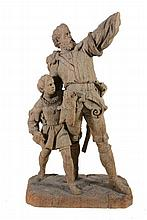 A Continental, almost certainly Swiss sculpted wood group of William Tell...