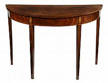 A George III mahogany and marquetry semi-elliptical side table, circa 1800