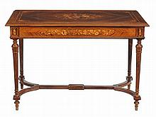A rosewood and marquetry writing table, late 19th/ early 20th century