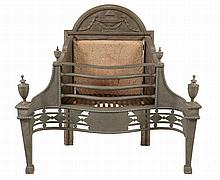 A cast and wrought iron firegrate in George III style, early 20th century