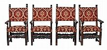 A harlequin set of four upholstered and carved oak framed chairs