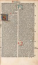 Latin. Biblia Latina , edited by Petrus Angelus de Monte Ulmi, double column