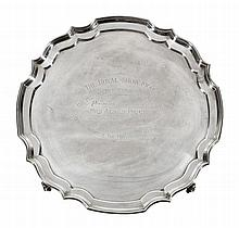 The Mel Valley Perpetual Challenge Trophy, a silver shaped circular salver by J