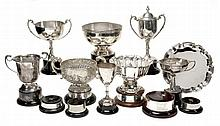 A collection of nine electro-plated trophies, comprising three bowls