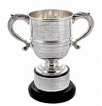 The RASE Challenge Cup, a silver twin handled trophy cup by Skinner & Co