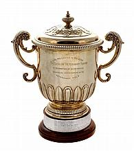 The Bledisloe Veterinary Award, a late Victorian silver gilt twin handled...