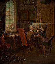 François Eisen (1695-1778) - Self-portrait of the artist in his studio, holding a mahl-stick, painting an allegorical scene