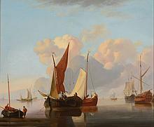 Follower of Charles Martin Powell (1775-1824) - Sailing ships in a calm; Sailing ships in rough seas