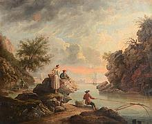 Manner of Claude Joseph Vernet (1714-1789) - A gentleman fishing at sunset, with a couple looking on, and Mediterranean harbour beyond