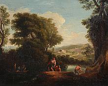 Francesco Mazzuoli (1763-1839) - Figures in a river landscape