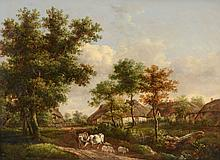Charles Towne (1763-1840) - Cattle drover in a pastoral landscape with thatched cottages beyond