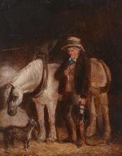 English School (19th Century) - A grey horse in a stable with a groom